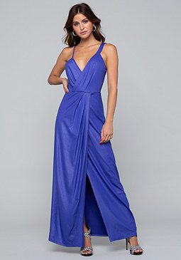 bebe Twisted Wrap Maxi Dress