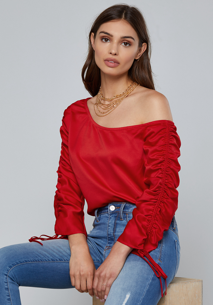 Drawstring Sleeve Top by Bebe
