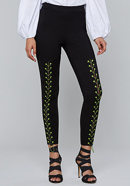 bebe Neon Lace Up Leggings