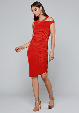 bebe Shirred Cutout Dress