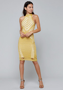 bebe Metallic Knit Halter Dress