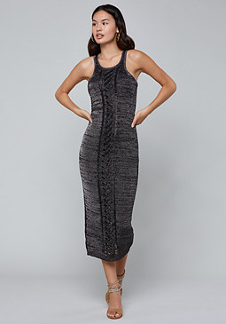 bebe Metallic Knit Midi Dress