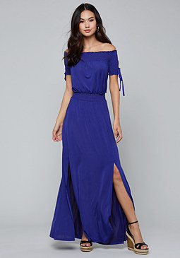 bebe Off Shoulder Maxi Dress