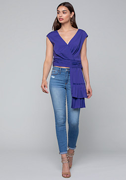 bebe Sash Detail Wrap Top