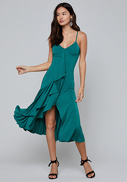 bebe Cascading Ruffle Dress