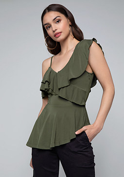 bebe Asymmetric Peplum Top