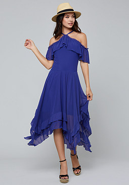 bebe Ruffled Hanky Hem Dress