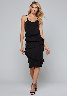 bebe Ruffled Midi Dress