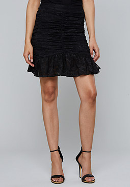 bebe Shirred Lace Mesh Skirt