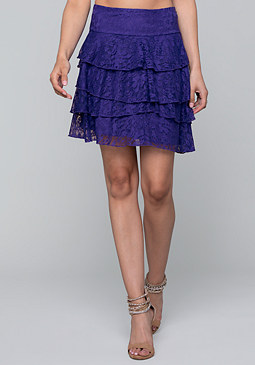 bebe Tiered Lace Skirt