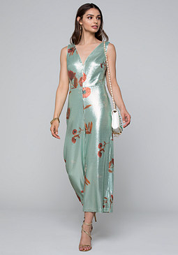 bebe Printed Sequin Jumpsuit