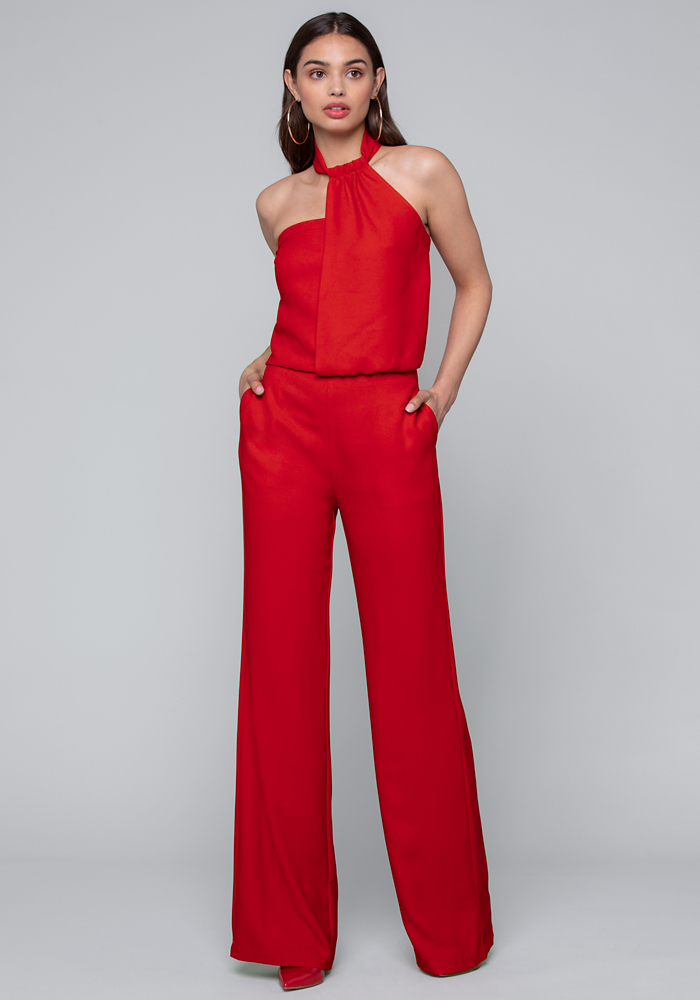 Crepe Asymmetric Jumpsuit by Bebe