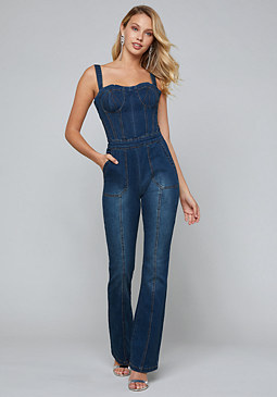 bebe Lorent Denim Jumpsuit