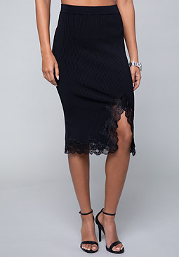 bebe Lace Trim Ribbed Skirt
