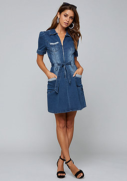 bebe Ally Denim Zip Front Dress