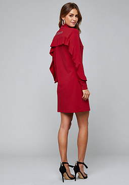 bebe Logo Ruffle Back Zip Dress