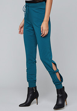 bebe Logo Twist Slit Sweatpants