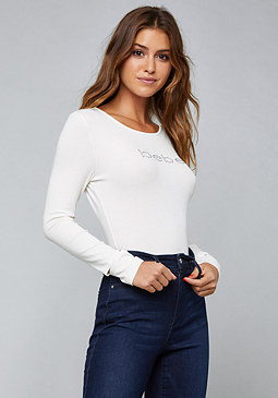 bebe Logo Cutout Long Sleeve Tee