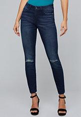 bebe Distressed Knee Jeans