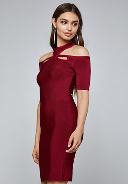 bebe Y-Neck Cutout Bandage Dress