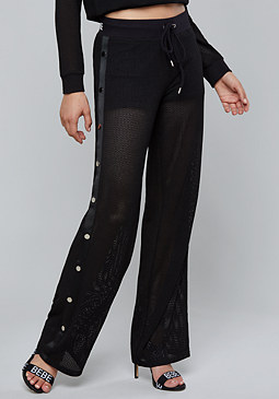 bebe Logo Mesh Side Snap Pants