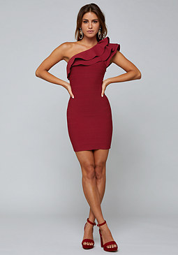 bebe One Shoulder Bandage Dress