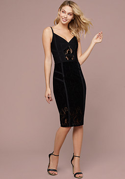 bebe Velvet Lace & Bandage Dress