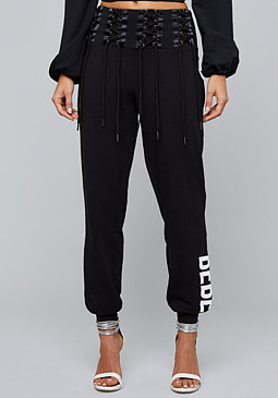 bebe Logo Lace Up Sweatpants