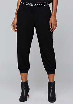 bebe Logo Mesh Crop Pants