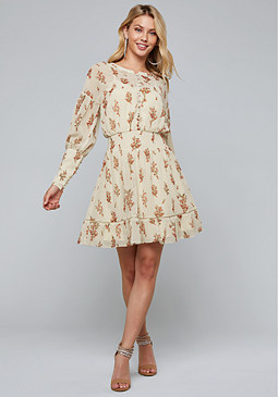 bebe Print Button Dress