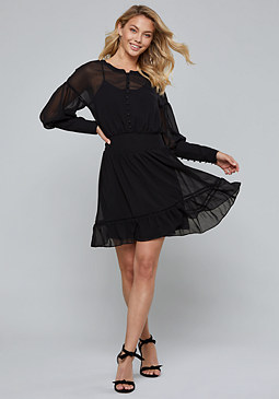 bebe Button Front & Sleeve Dress