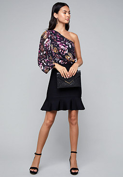 bebe Print One Shoulder Dress