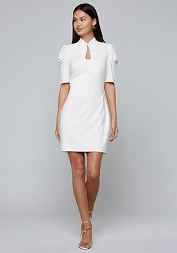 bebe Puff Sleeve Keyhole Dress