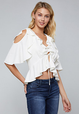 bebe Flared Cold Shoulder Top