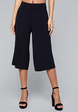 bebe Crepe Wide Leg Crop Pants