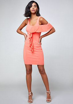 bebe Ruffle Trim Tank Dress