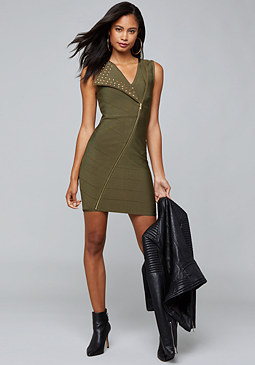 bebe Joan Studded Bandage Dress