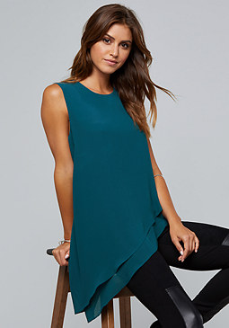 bebe Asymmetric 2-Layer Top