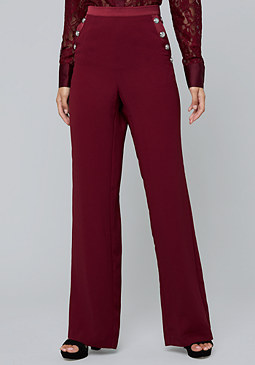 bebe Button Detail Crepe Pants
