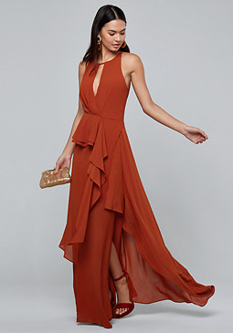 bebe Draped Ruffle Maxi Dress