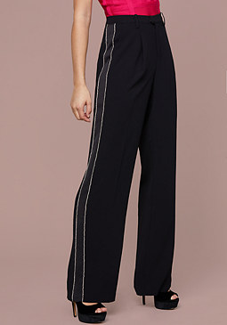 bebe Crystal Wide Leg Tux Pants