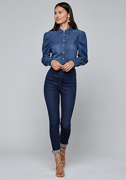 bebe Denim Puff Sleeve Shirt