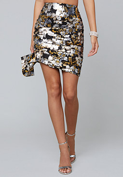 bebe Metallic Ruched Miniskirt