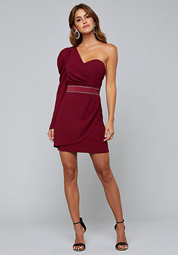 bebe Crepe One Shoulder Dress
