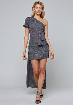 bebe Plaid One Shoulder Dress