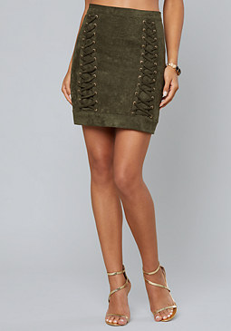 bebe Faux Suede Lace Up Skirt