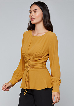 bebe Lace Up Waist Top