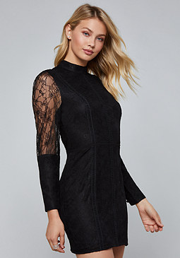 bebe Lattice & Lace Trim Dress