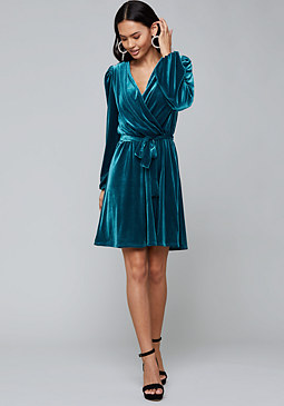 bebe Velvet Wrap Bodice Dress