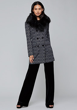bebe Faux Fur Collar Coat